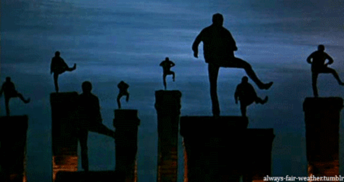 Silhouette of Chimney sweepers dancing on chimneys tops - a scene from Mary Poppins